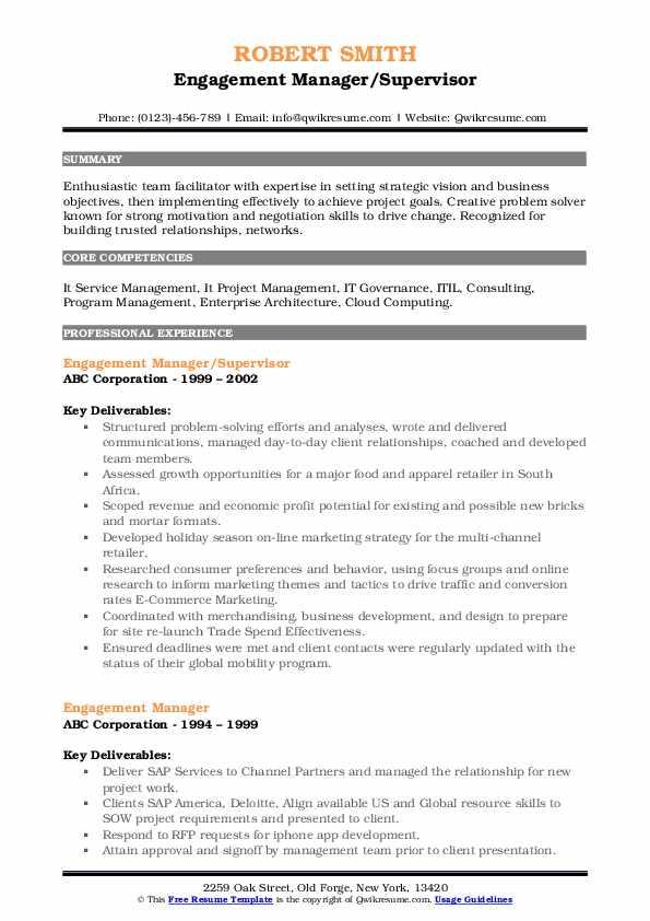Engagement Manager/Supervisor Resume Format