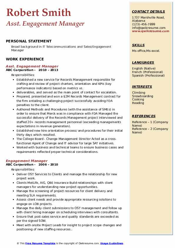 Asst. Engagement Manager Resume Example