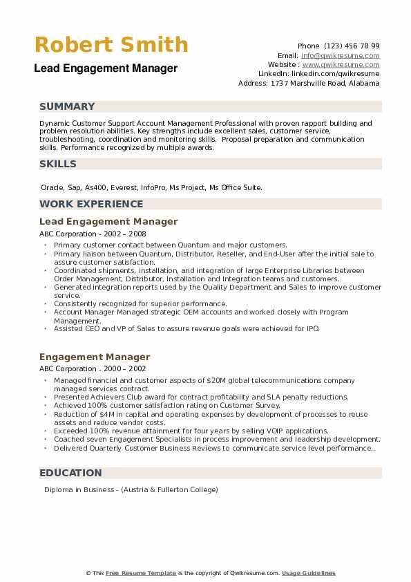 Lead Engagement Manager Resume Model