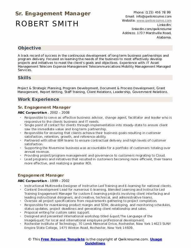 Sr. Engagement Manager Resume Format