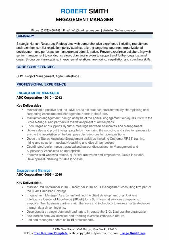 Engagement Manager Resume example