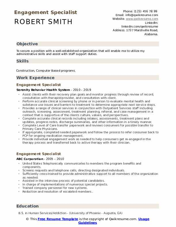 Engagement Specialist Resume Template