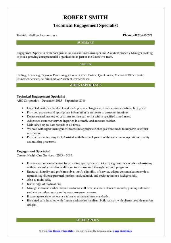 Technical Engagement Specialist Resume Model