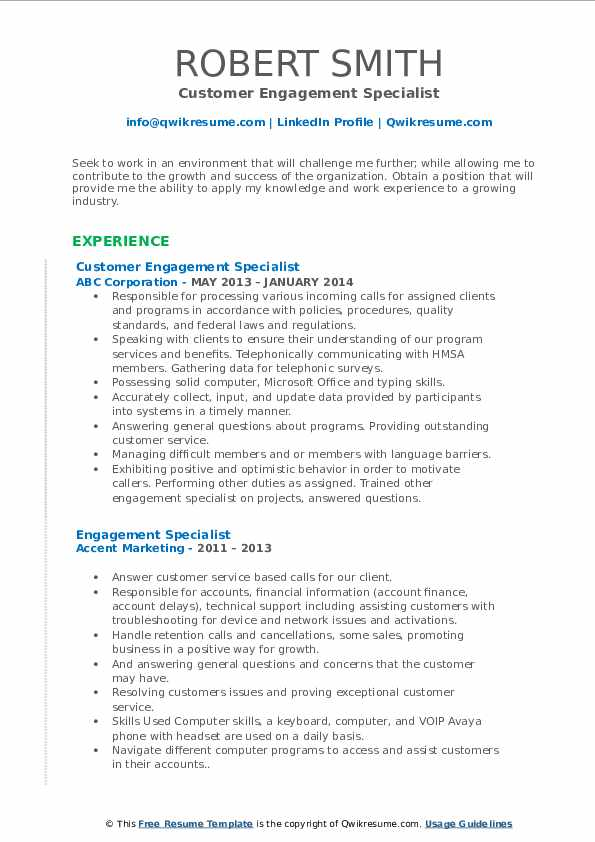 Customer Engagement Specialist Resume Example