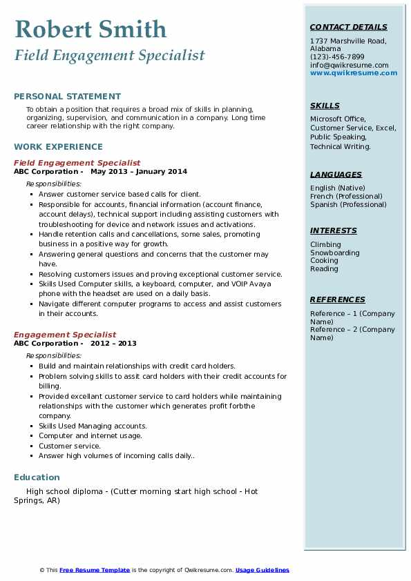 Field Engagement Specialist Resume Template
