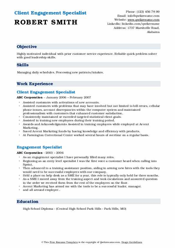 Client Engagement Specialist Resume Template