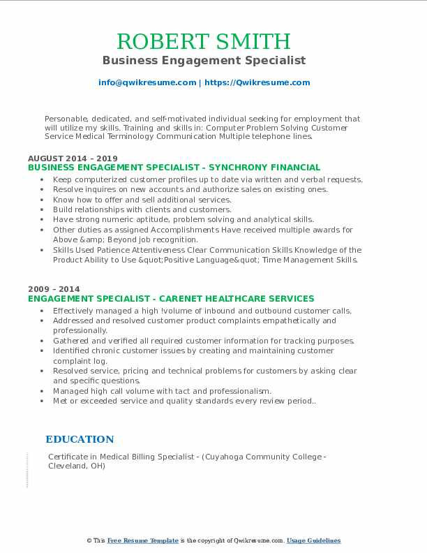 Business Engagement Specialist Resume Template
