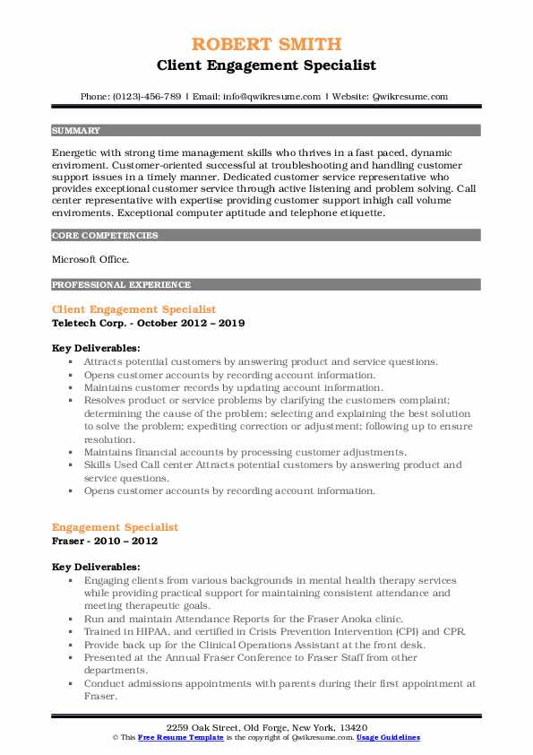 Client Engagement Specialist Resume Example