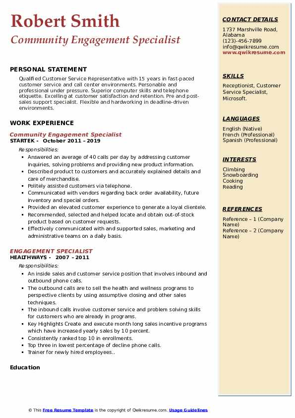 Community Engagement Specialist Resume Example