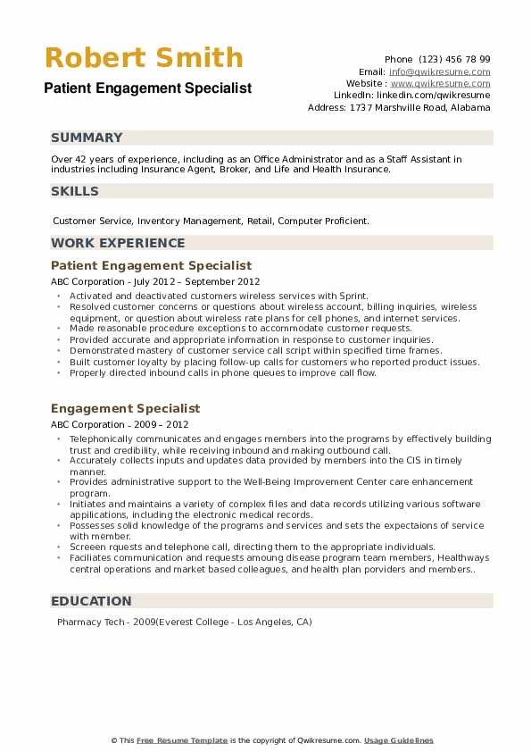 Patient Engagement Specialist Resume Example