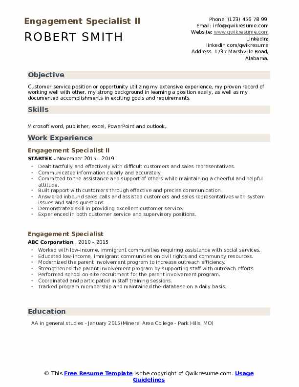 Engagement Specialist II Resume Model