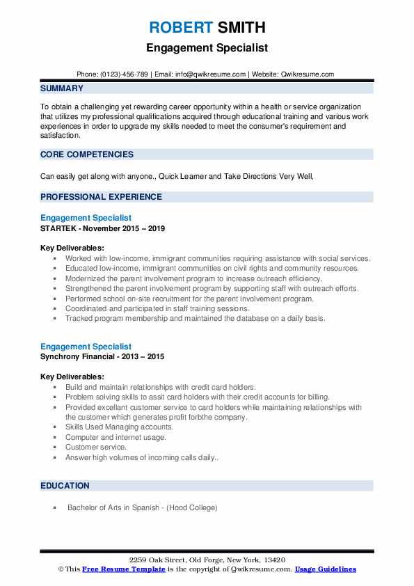 Engagement Specialist Resume example