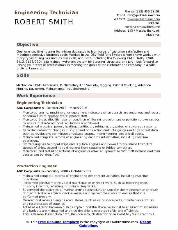 Engineering Technician Resume Format