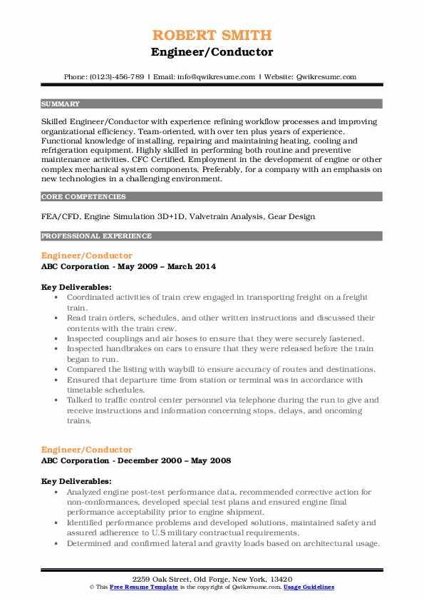 Engineer/Conductor Resume Template