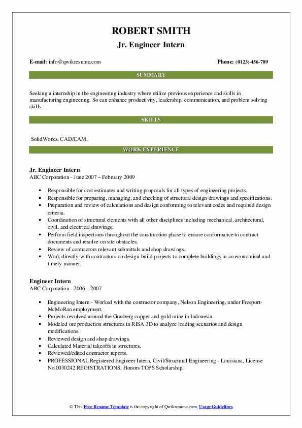 Jr. Engineer Intern Resume Model