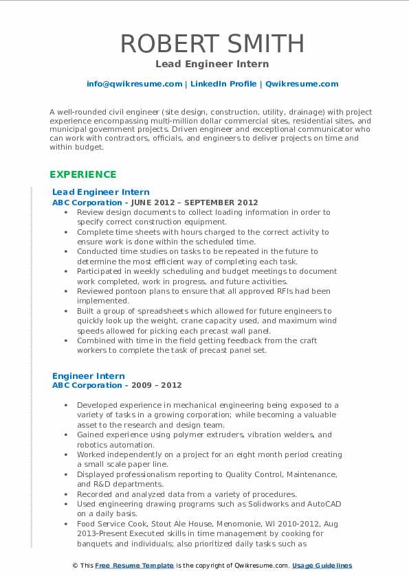 Lead Engineer Intern Resume Format