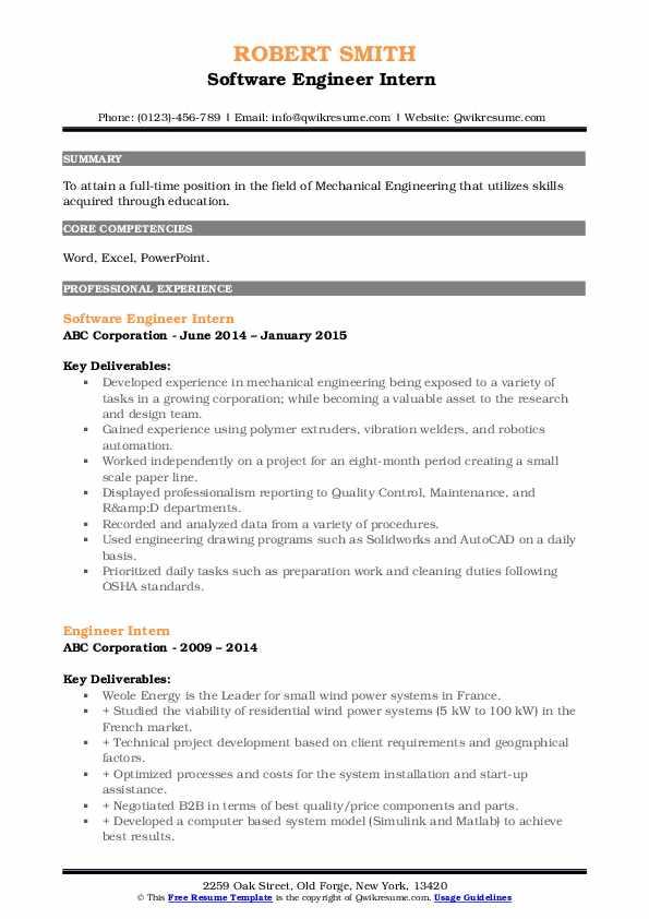 Software Engineer Intern  Resume Model
