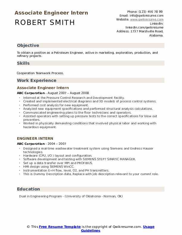 Associate Engineer Intern Resume Format