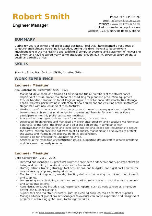 Engineer Manager Resume example