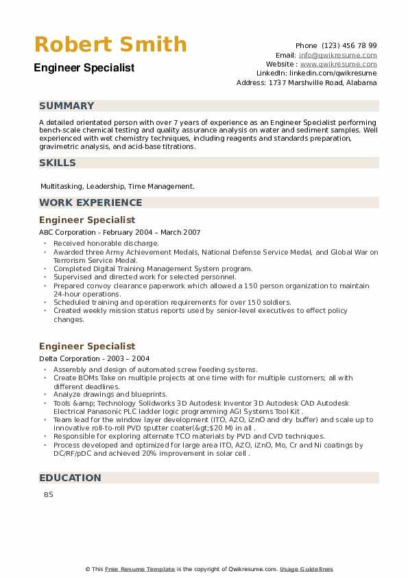 Engineer Specialist Resume example