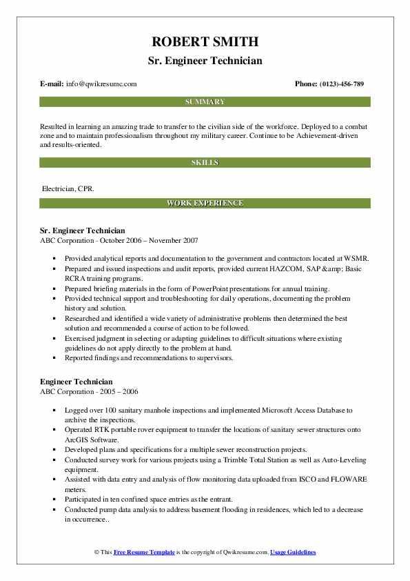 Sr. Engineer Technician Resume Model
