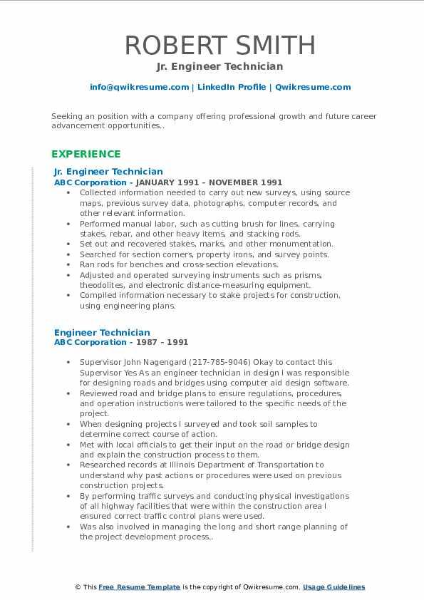 Jr. Engineer Technician Resume Sample