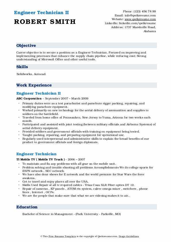 Engineer Technician II Resume Model