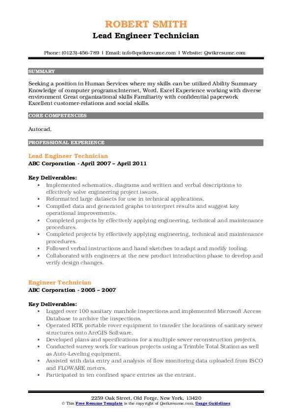 Lead Engineer Technician Resume Format