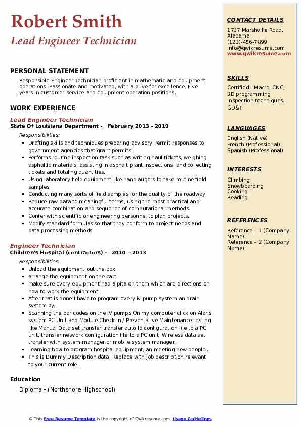 Lead Engineer Technician Resume Sample
