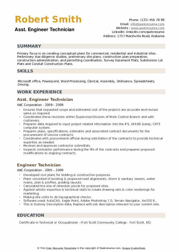 Asst. Engineer Technician Resume Format