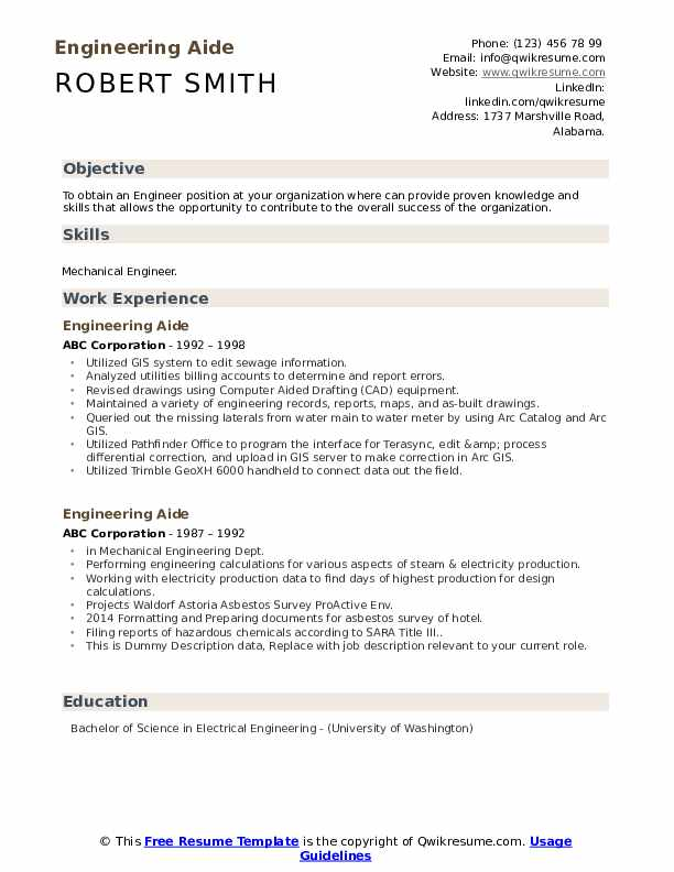 Engineering Aide Resume example