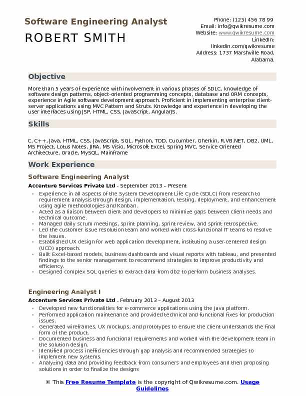 Software Engineering Analyst Resume Example