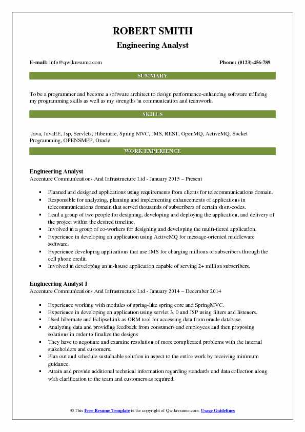 Engineering Analyst Resume Samples Qwikresume