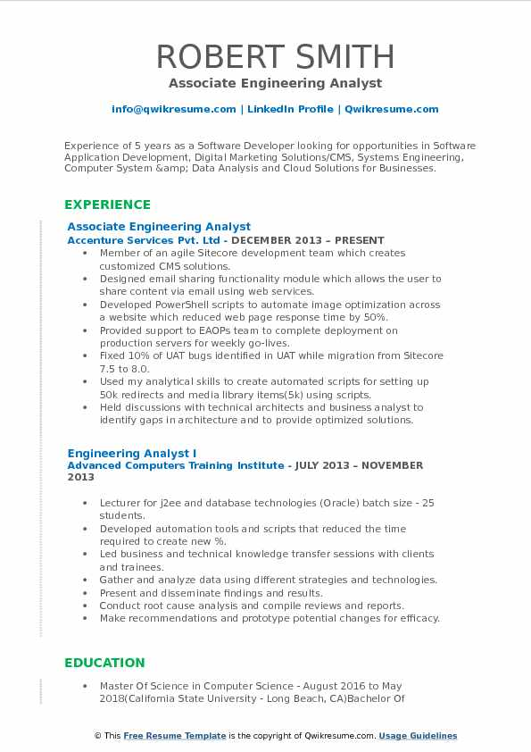 Associate Engineering Analyst Resume Format