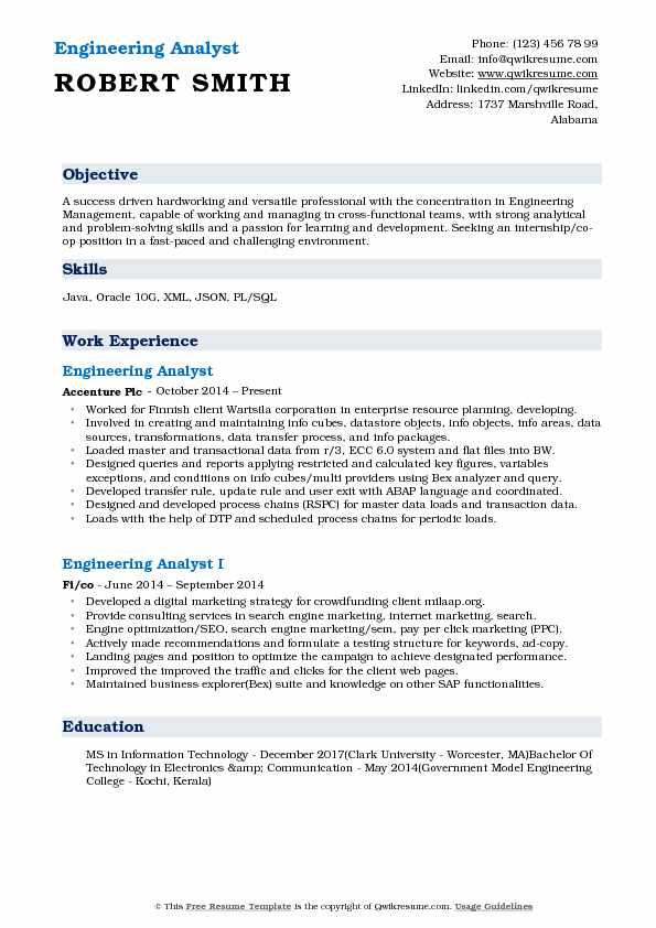 Engineering Analyst Resume Example
