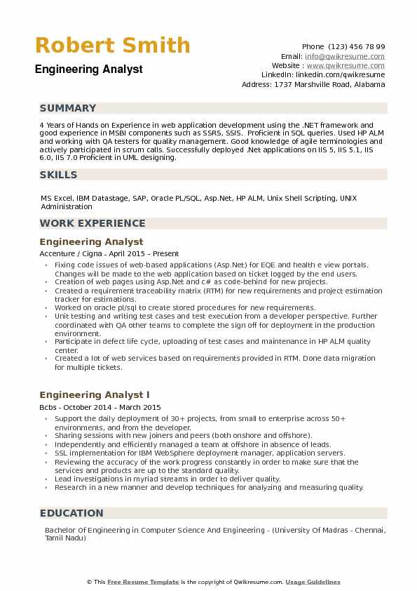 engineering analyst resume samples