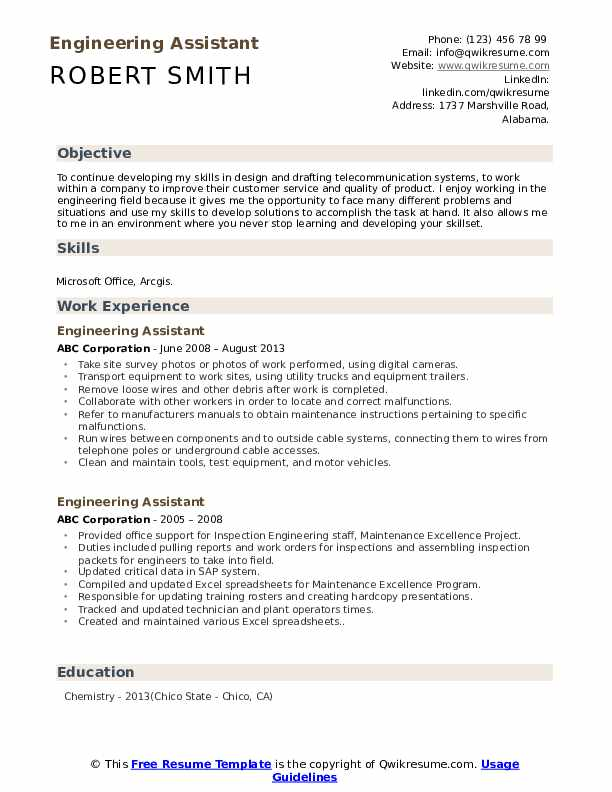 Engineering Assistant Resume Format