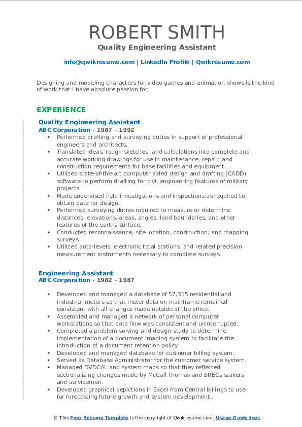 Quality Engineering Assistant Resume Format