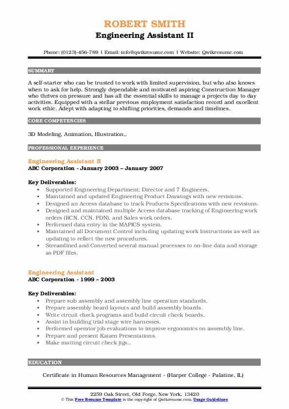 Engineering Assistant II Resume Example