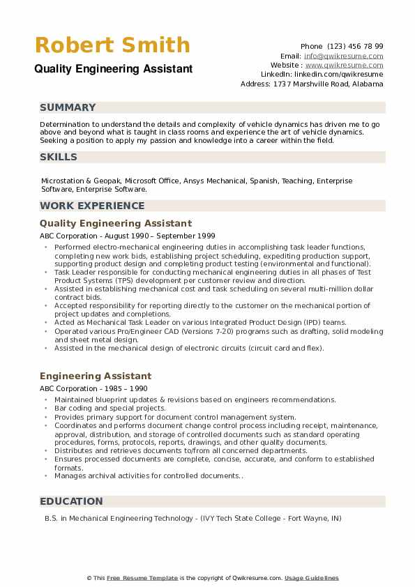 Quality Engineering Assistant Resume Model