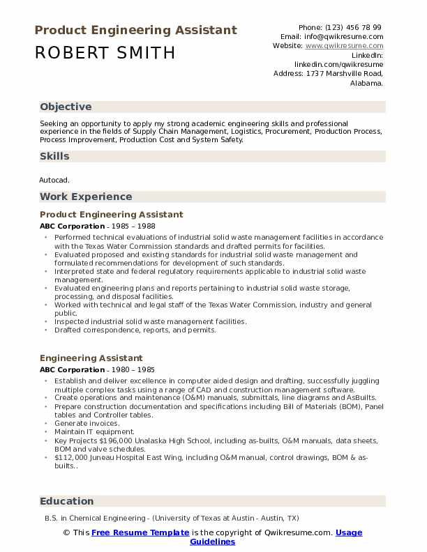 Product Engineering Assistant Resume Template