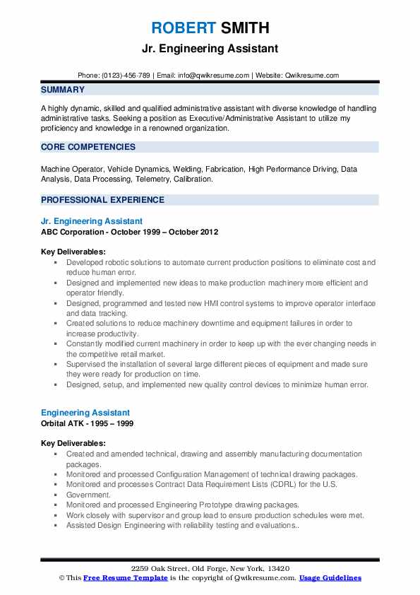 Engineering Assistant Resume example
