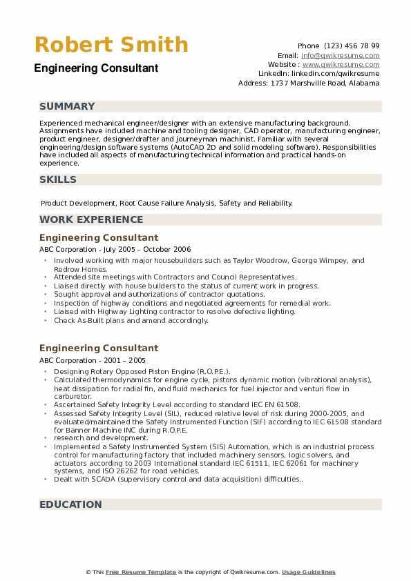 Engineering Consultant Resume example