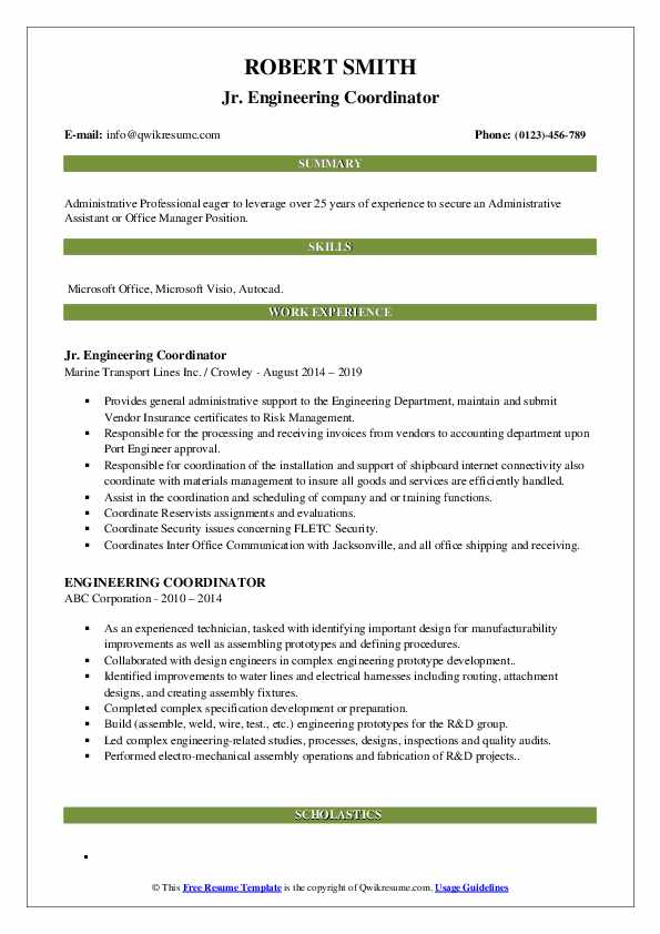 Jr. Engineering Coordinator Resume Example