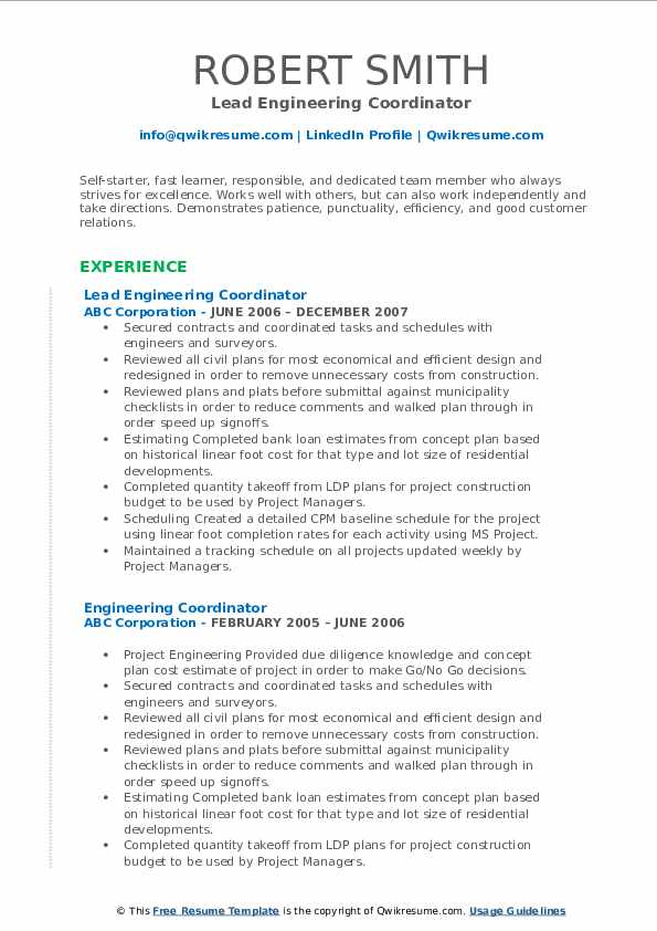 Lead Engineering Coordinator Resume Template