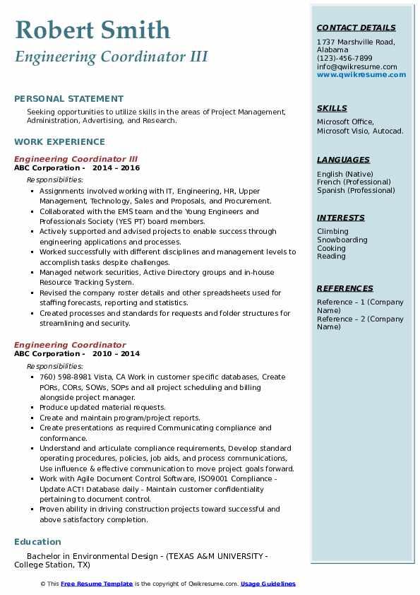 Engineering Coordinator III Resume Sample