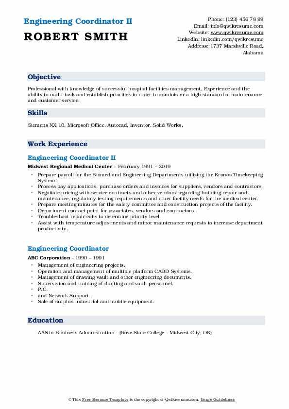 Engineering Coordinator II Resume Sample