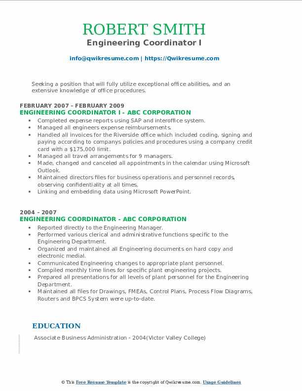 Engineering Coordinator I Resume Format