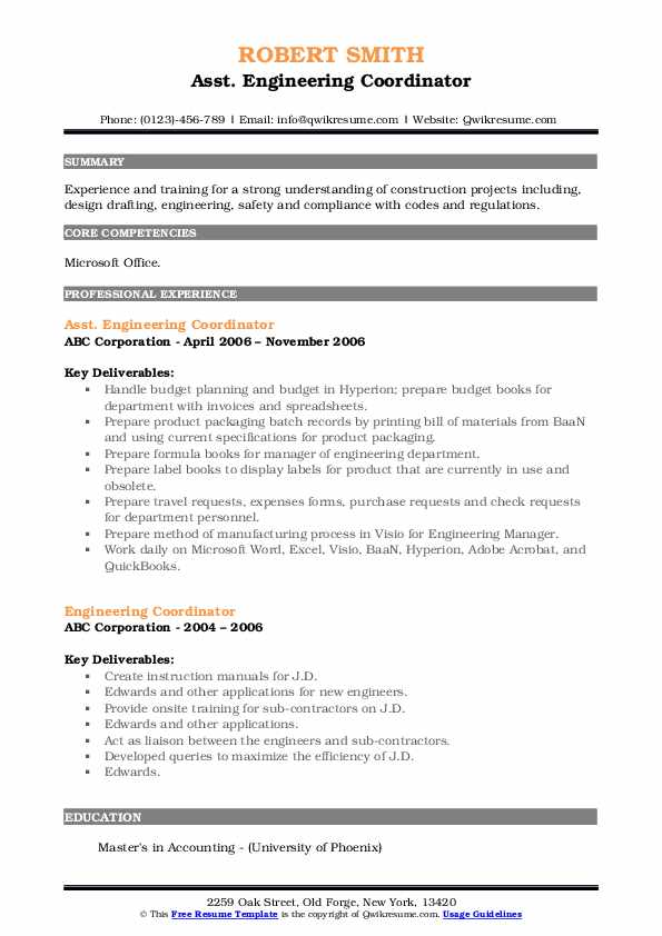 Asst. Engineering Coordinator Resume Format