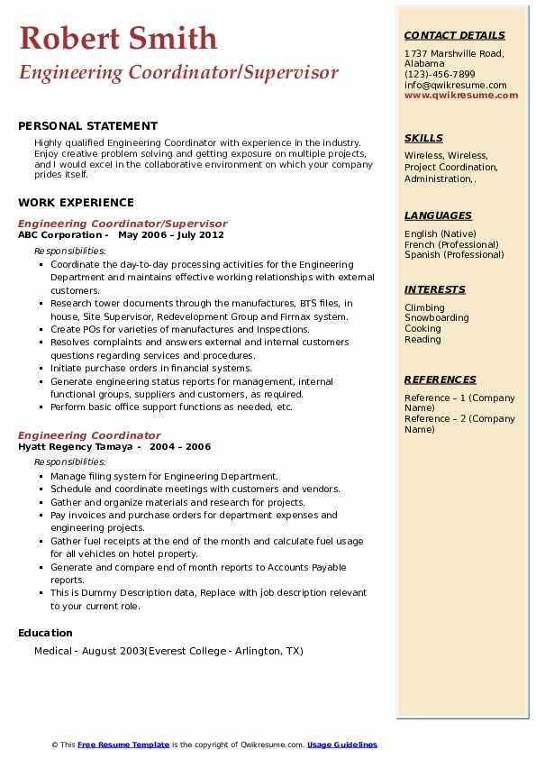 Engineering Coordinator/Supervisor Resume Example